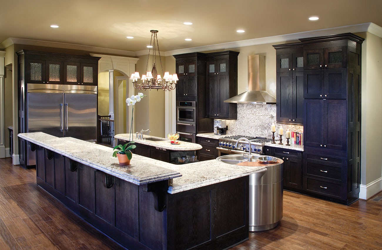 black kitchen cabinets with white counters photo - 8