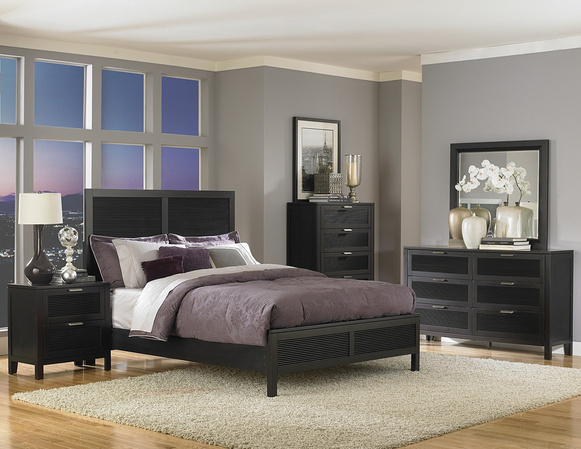 Dark Wood Finish Modern Dining Room W Optional Items: Black Lacquer Bedroom Furniture