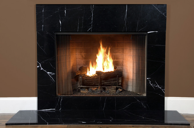 black marble fireplace surround photo - 1