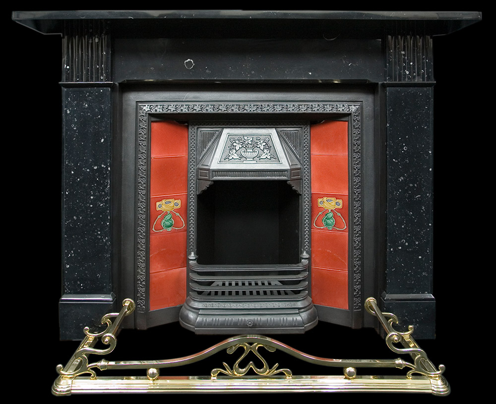black marble fireplace surround photo - 10