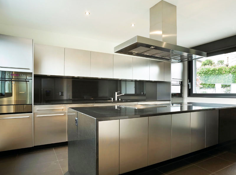 black metal kitchen cabinets photo - 2