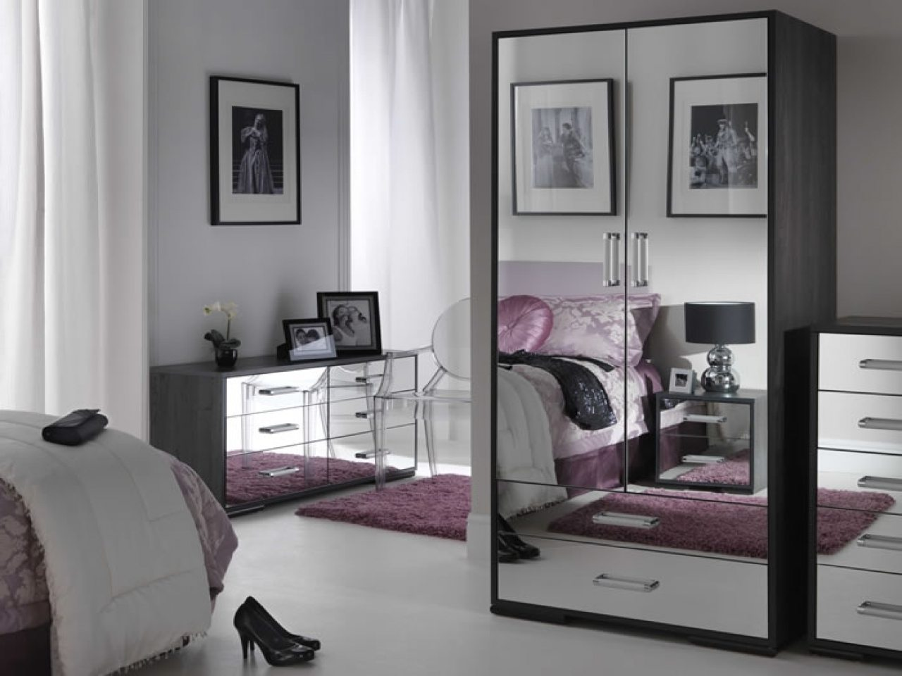 black mirrored glass bedroom furnitu photo - 2