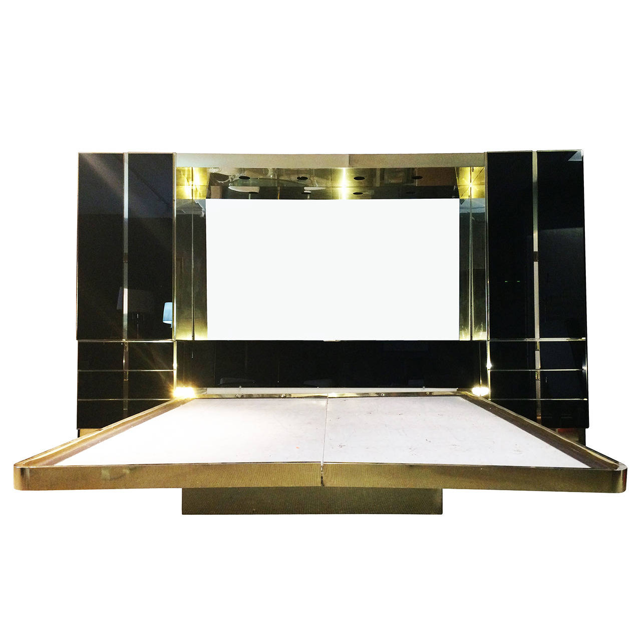 black mirrored glass bedroom furnitu photo - 5