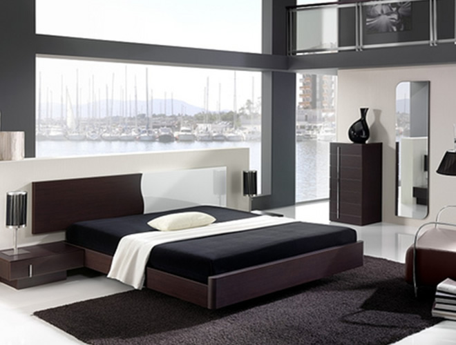 black mirrored glass bedroom furnitu photo - 8