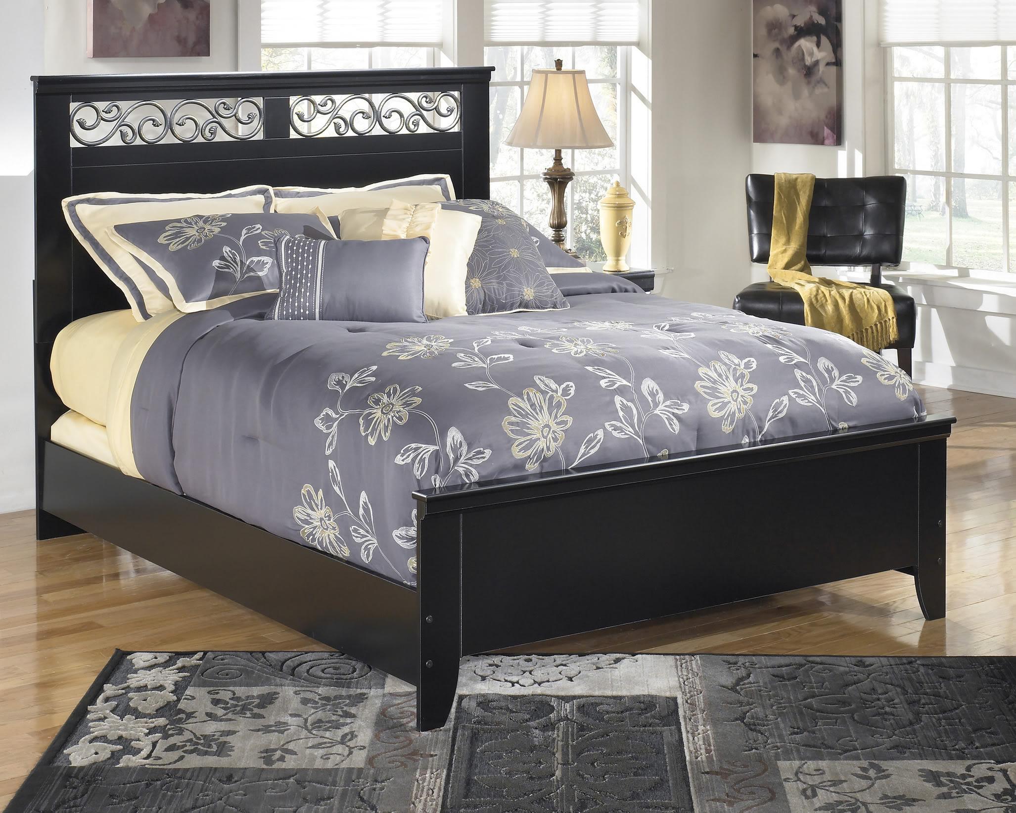 black ornate bedroom furniture photo - 3