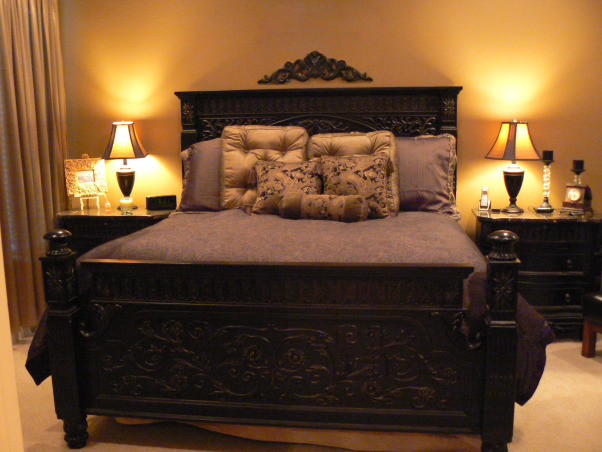 black ornate bedroom furniture photo - 9