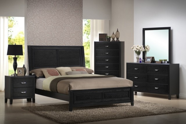 black oversized bedroom furniture photo - 3