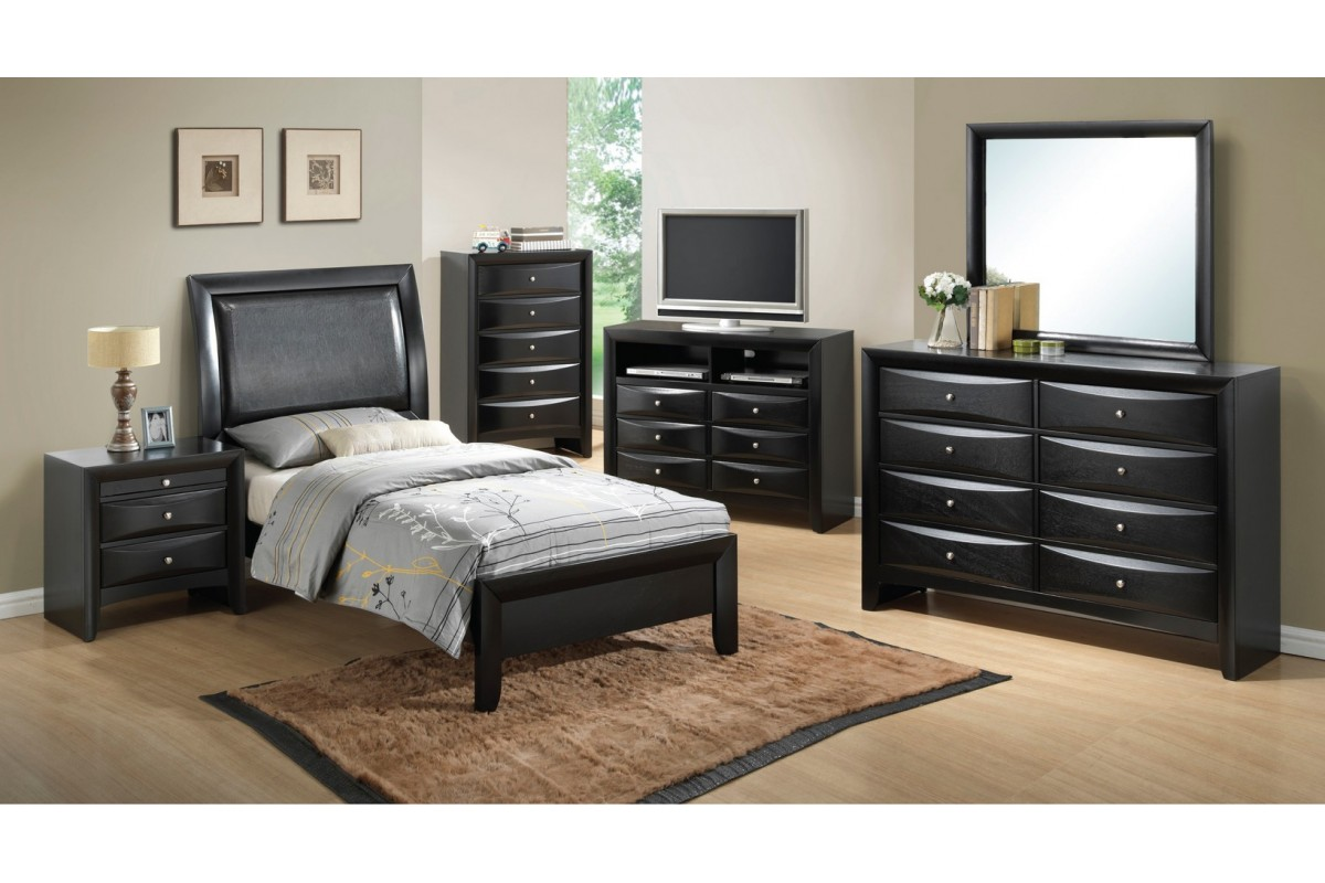 black twin bedroom furniture sets photo - 3
