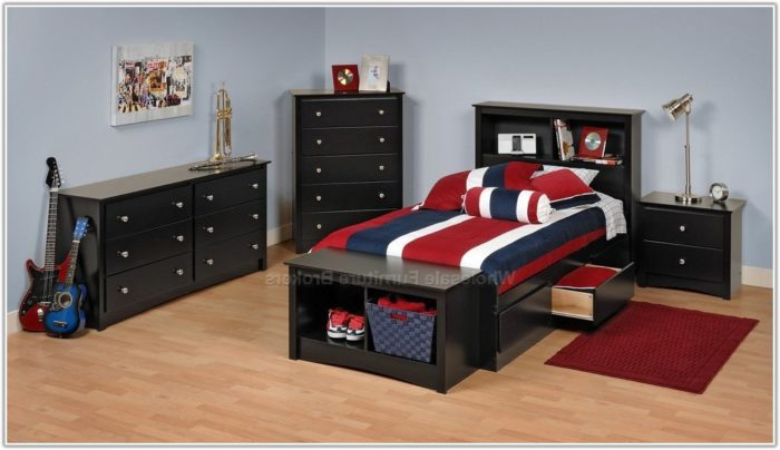 black twin bedroom furniture sets photo - 9