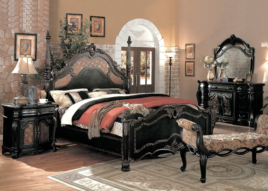 black victorian bedroom furniture photo - 2