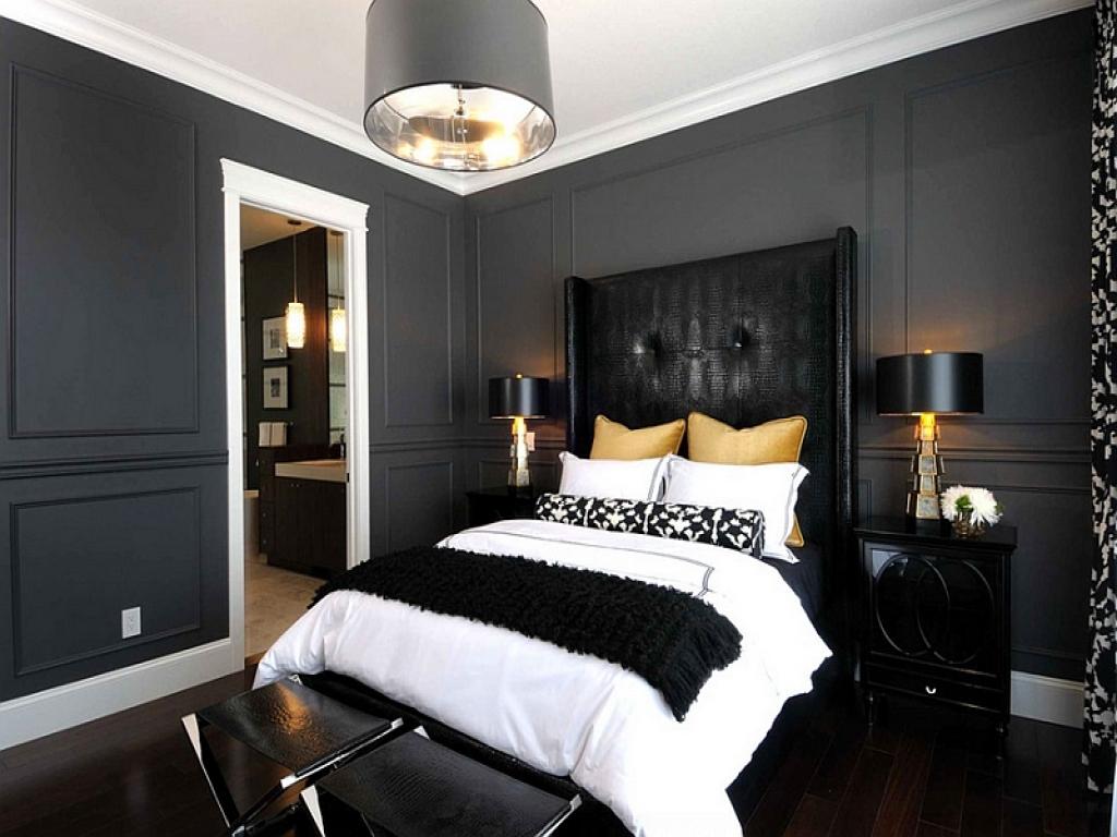 black white gray bedroom design photo - 10