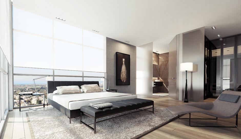 black white gray bedroom design photo - 2
