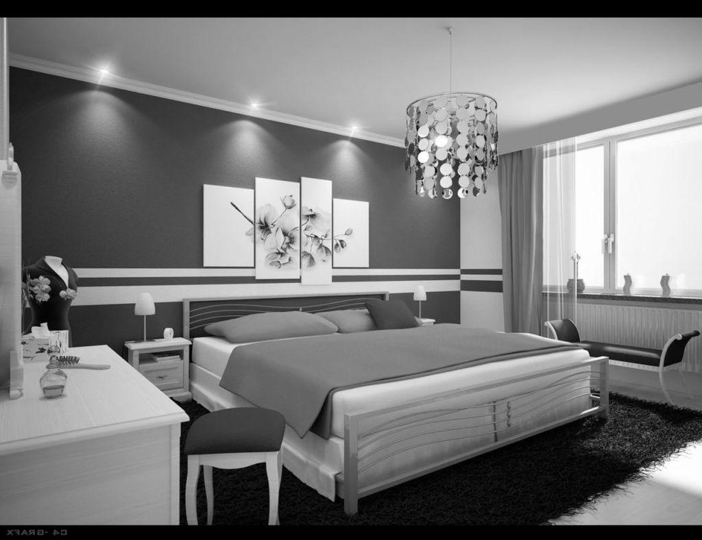 black white gray bedroom design photo - 5