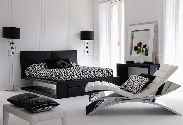 black white gray bedroom design photo - 6