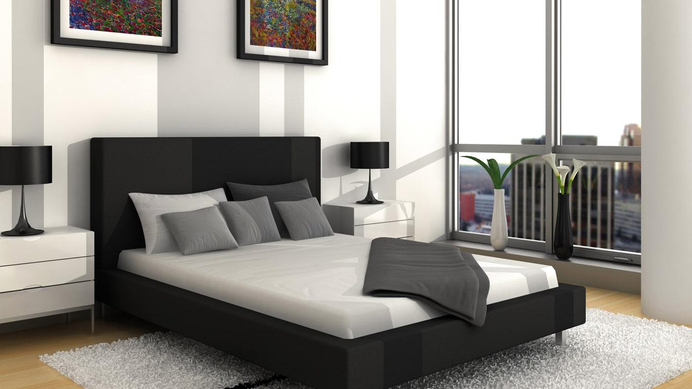 black white gray bedroom design photo - 7