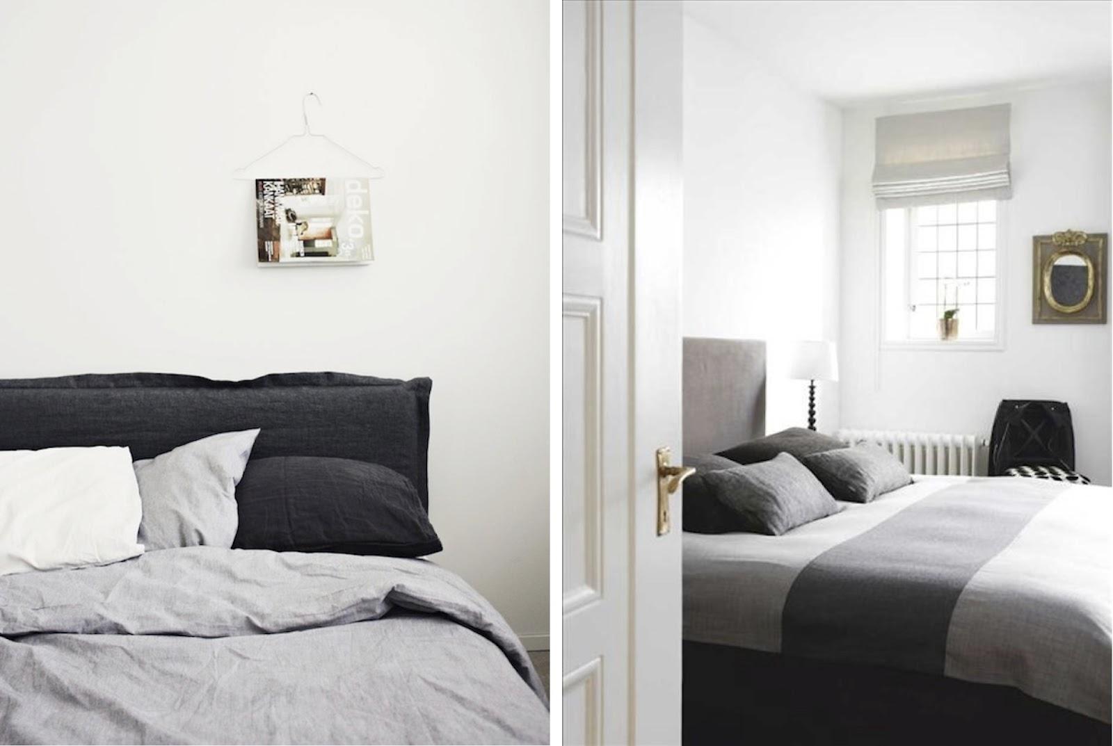 black white gray bedroom design photo - 9