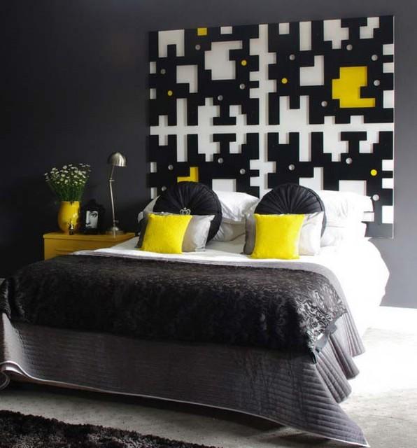 Black Yellow Bedroom Design Photo 1