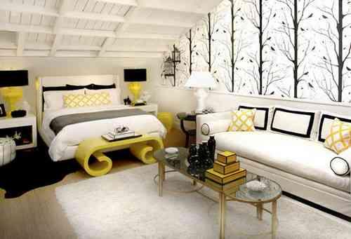 black yellow bedroom design photo - 6