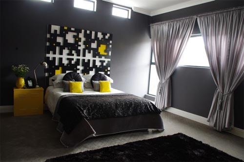 black yellow bedroom design photo - 8