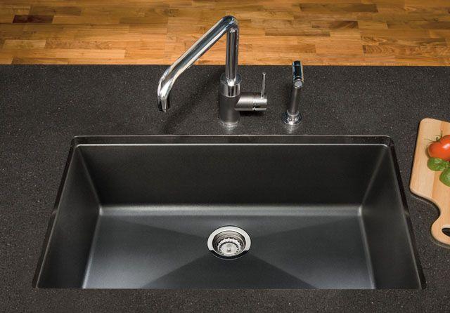blanco black granite kitchen sink photo - 1