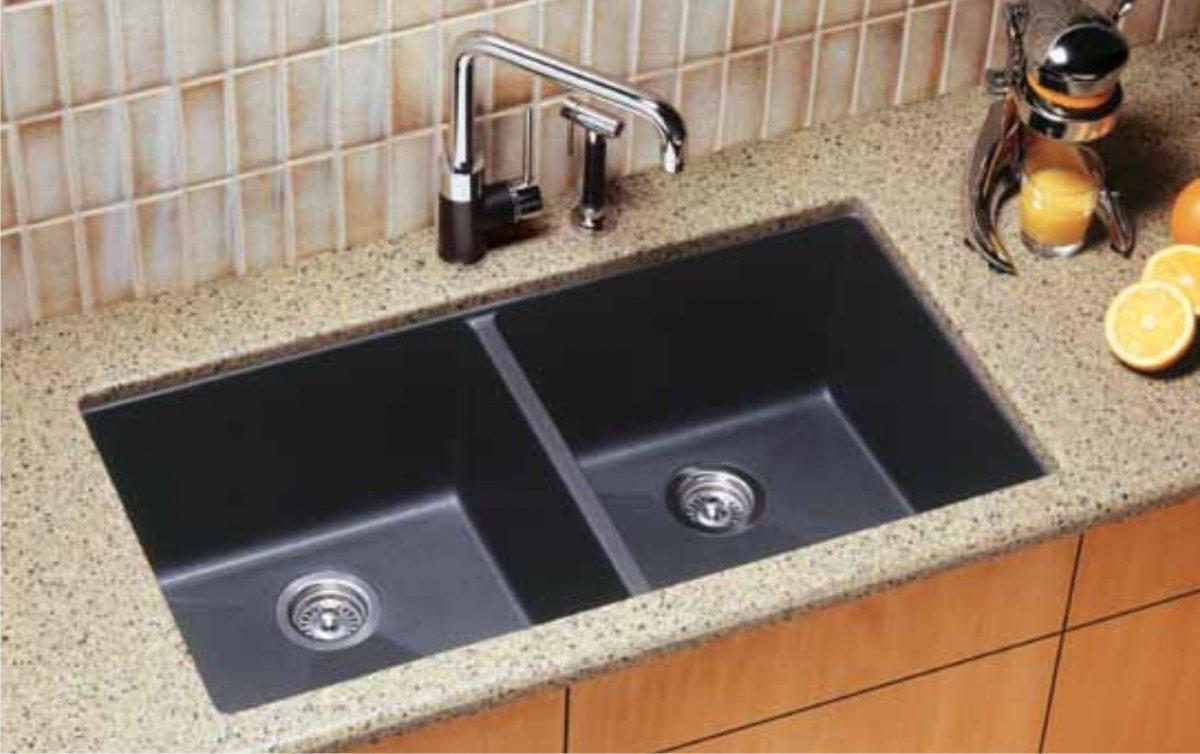 blanco black granite kitchen sink photo - 4