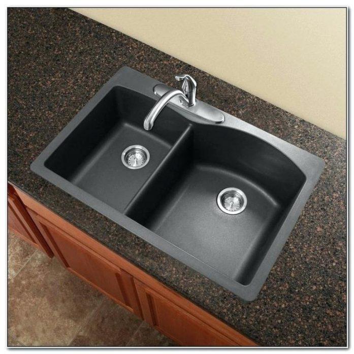 blanco black granite kitchen sink photo - 5