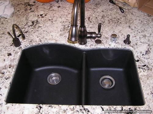 blanco black granite kitchen sink photo - 7