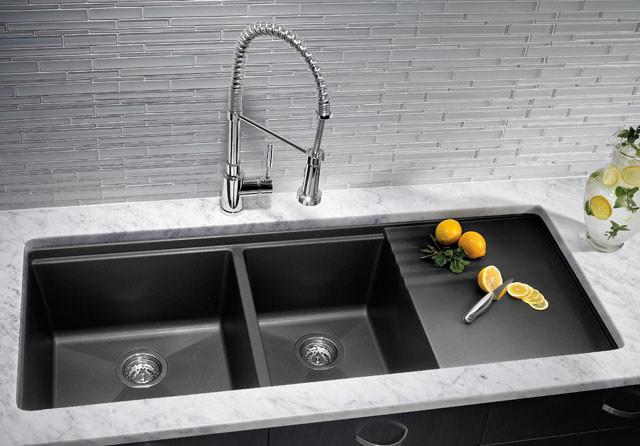 blanco black granite kitchen sink photo - 8