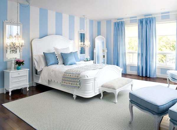 blue and white bedroom accessories photo - 8
