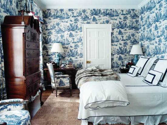 blue and white bedroom decor photo - 10