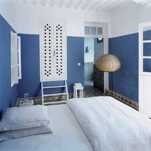 blue and white bedroom decor photo - 6