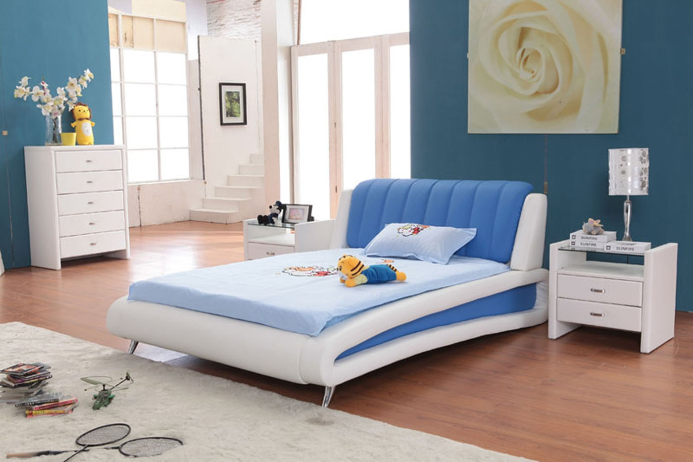blue and white bedroom furniture photo - 3