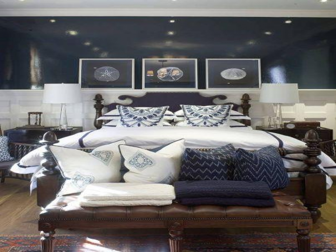 blue and white bedroom furniture photo - 4