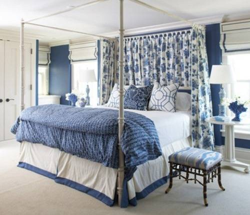 blue and white bedrooms designs photo - 1