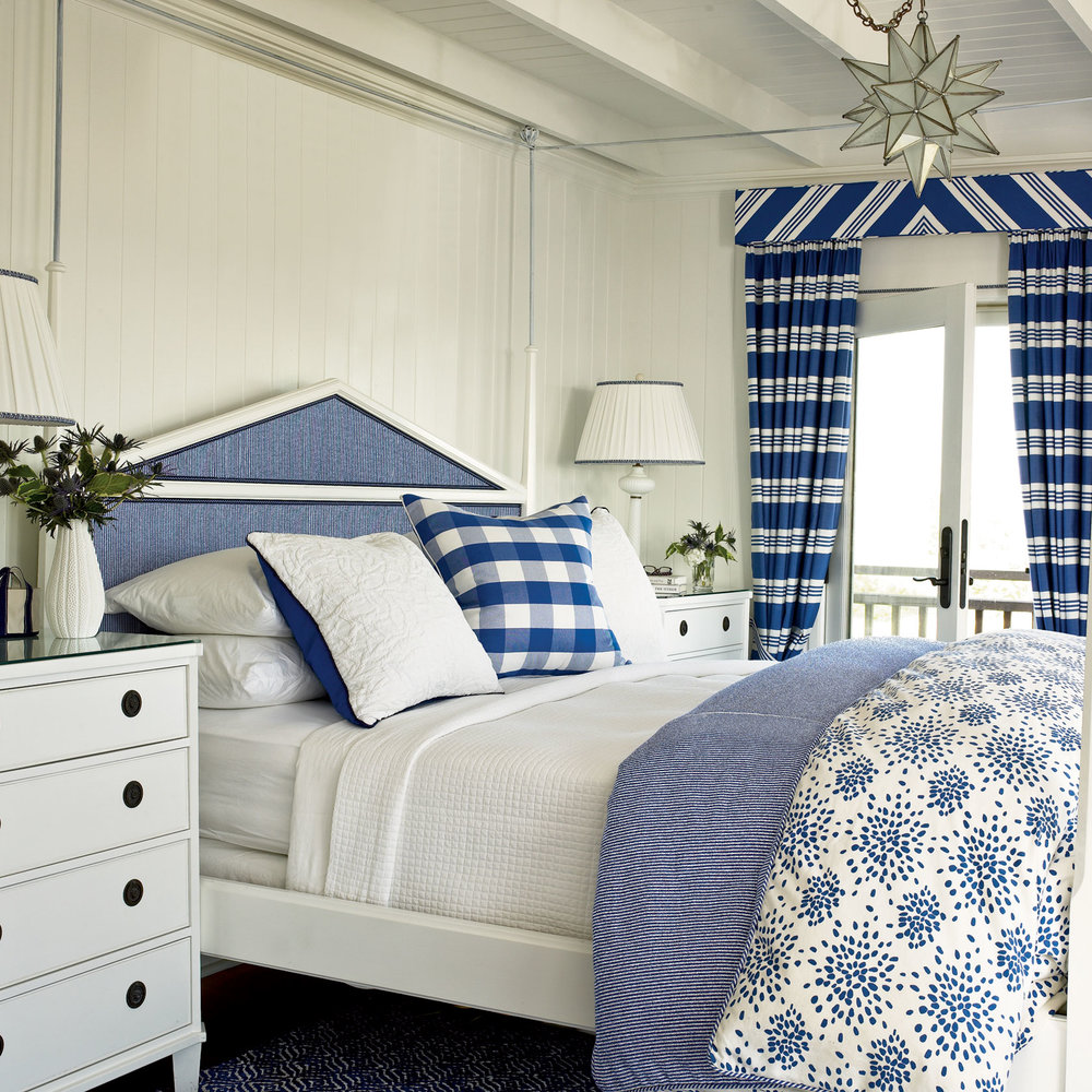 blue and white coastal bedrooms photo - 1