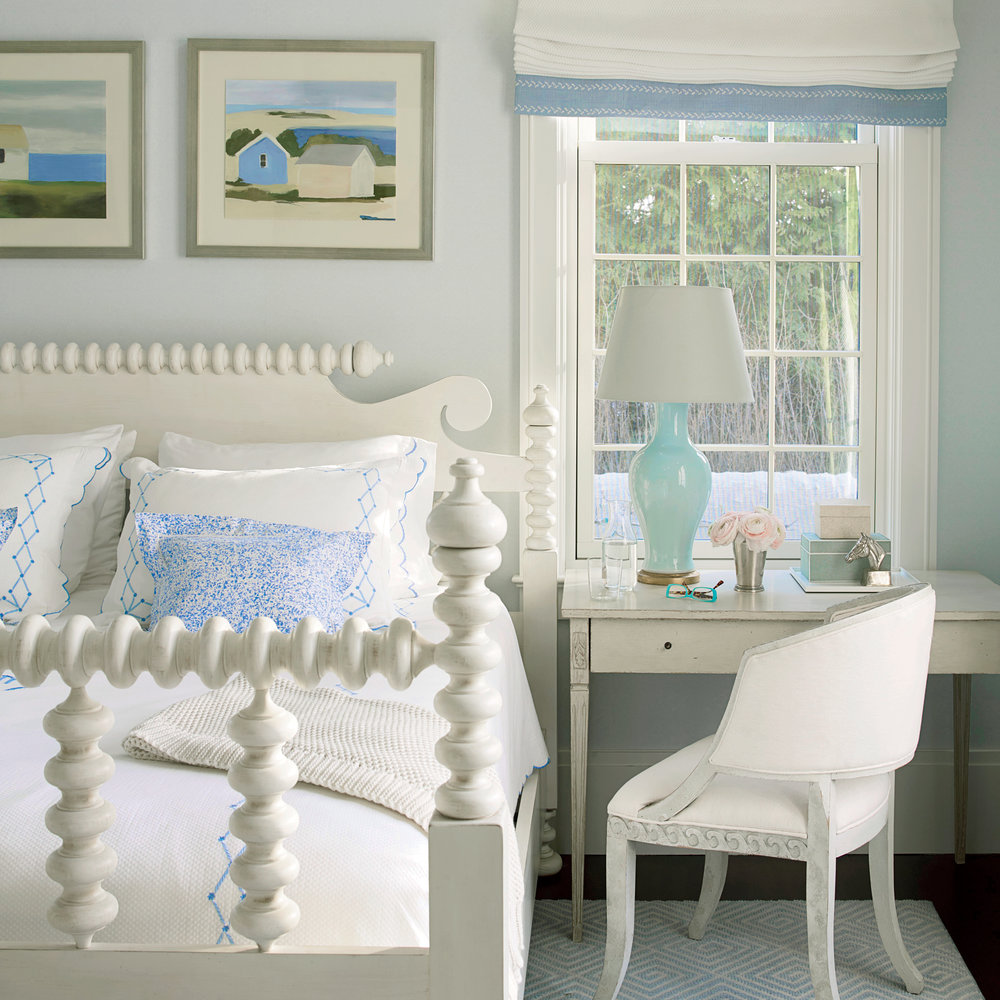 blue and white coastal bedrooms photo - 3