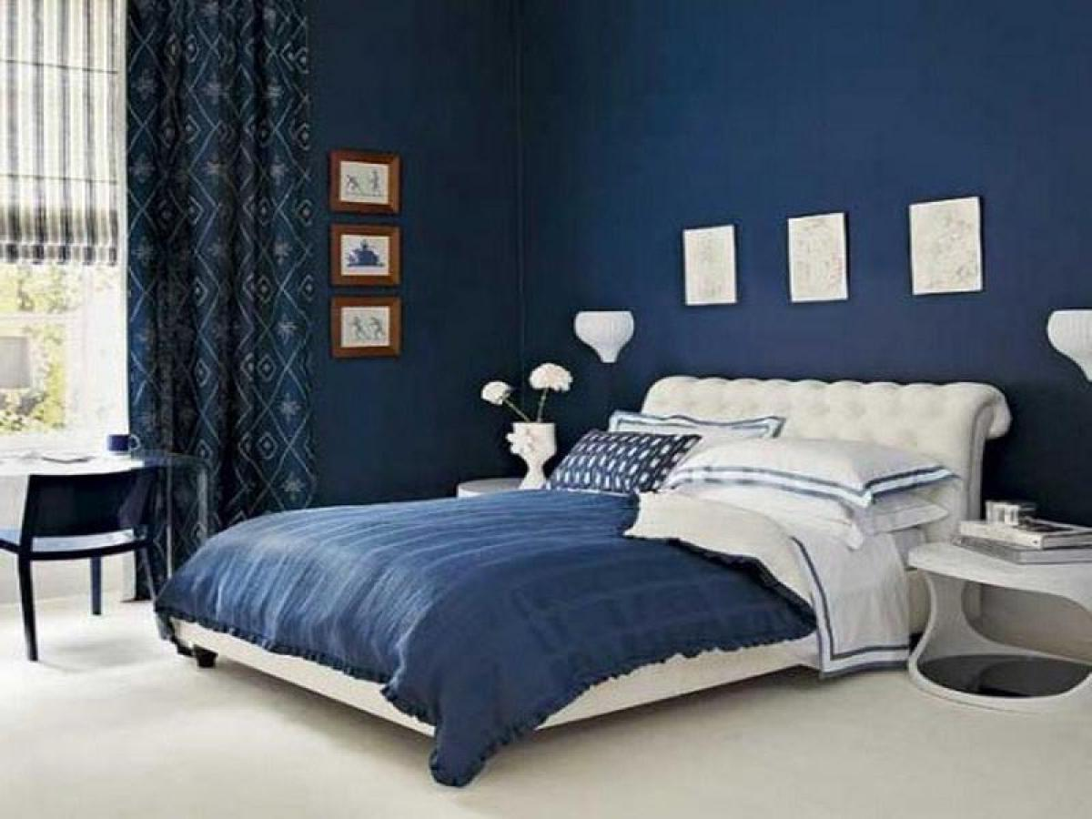 blue and white contemporary bedroom design photo - 1