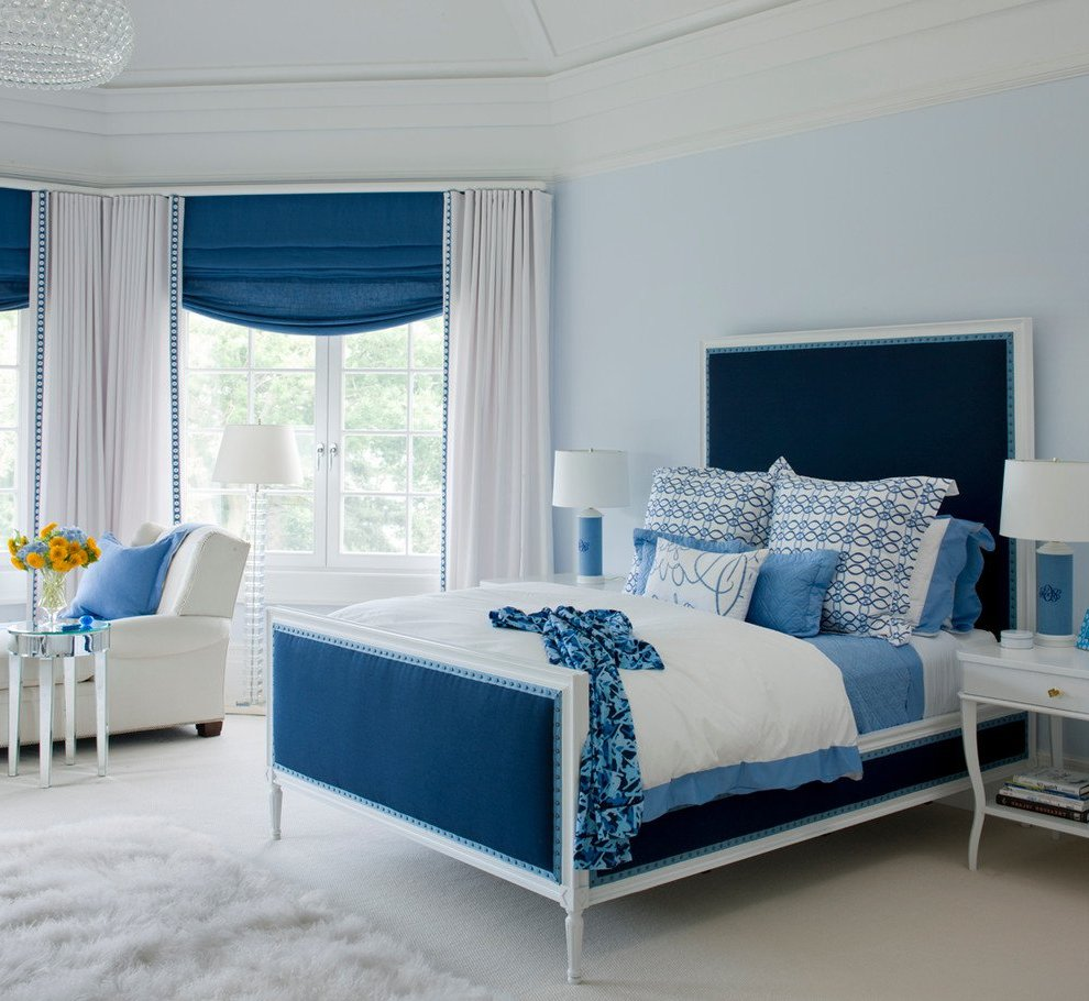 blue and white contemporary bedroom design photo - 3