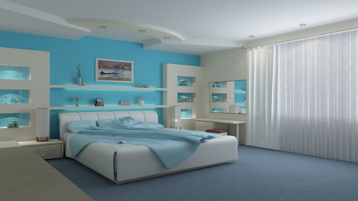 blue and white contemporary bedroom design photo - 7