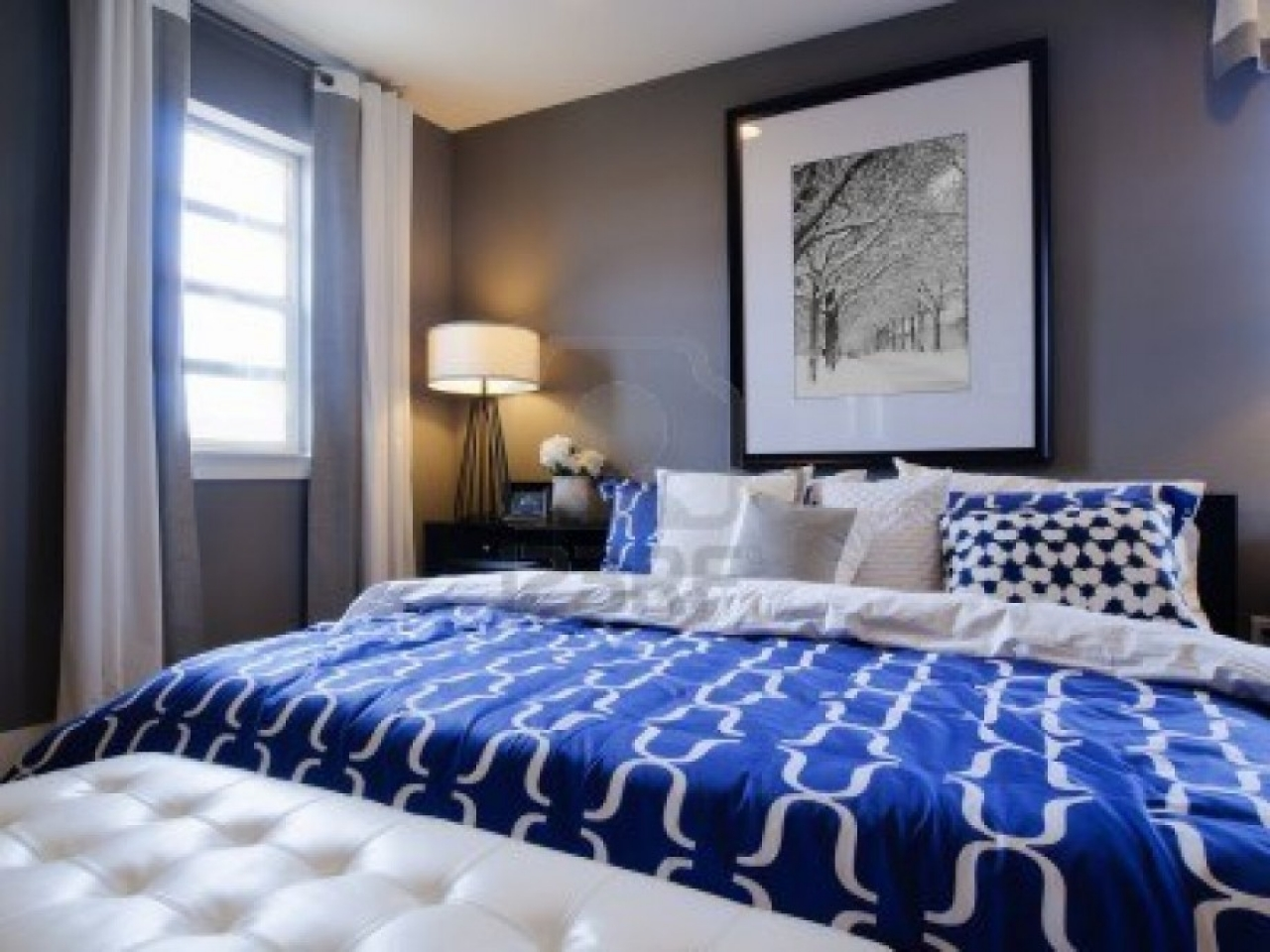 blue and white contemporary bedroom design photo - 8