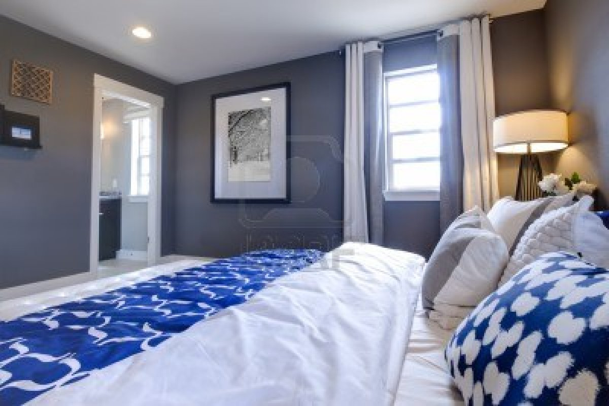blue and white contemporary bedroom ideas photo - 10