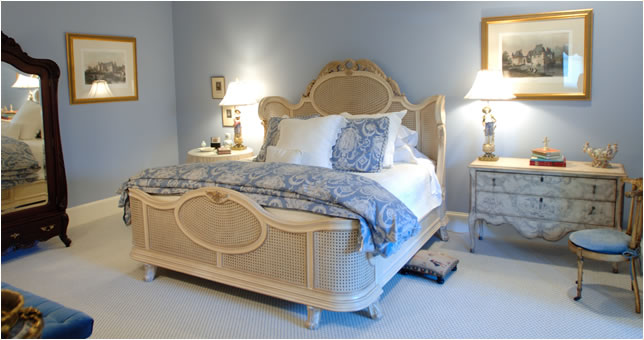 blue and white french country bedroom photo - 10