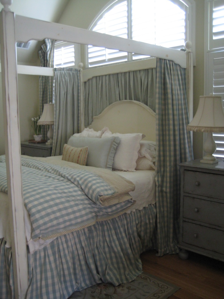 blue and white french country bedroom photo - 3