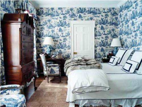 blue and white french country bedroom photo - 4