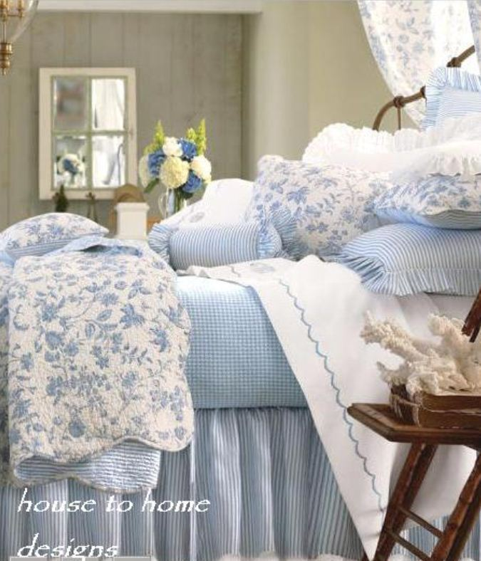 blue and white french country bedroom photo - 6