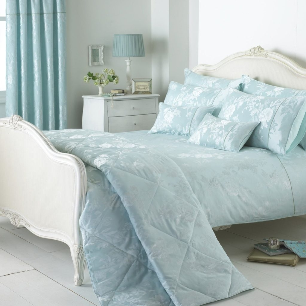 blue and white french country bedroom photo - 7