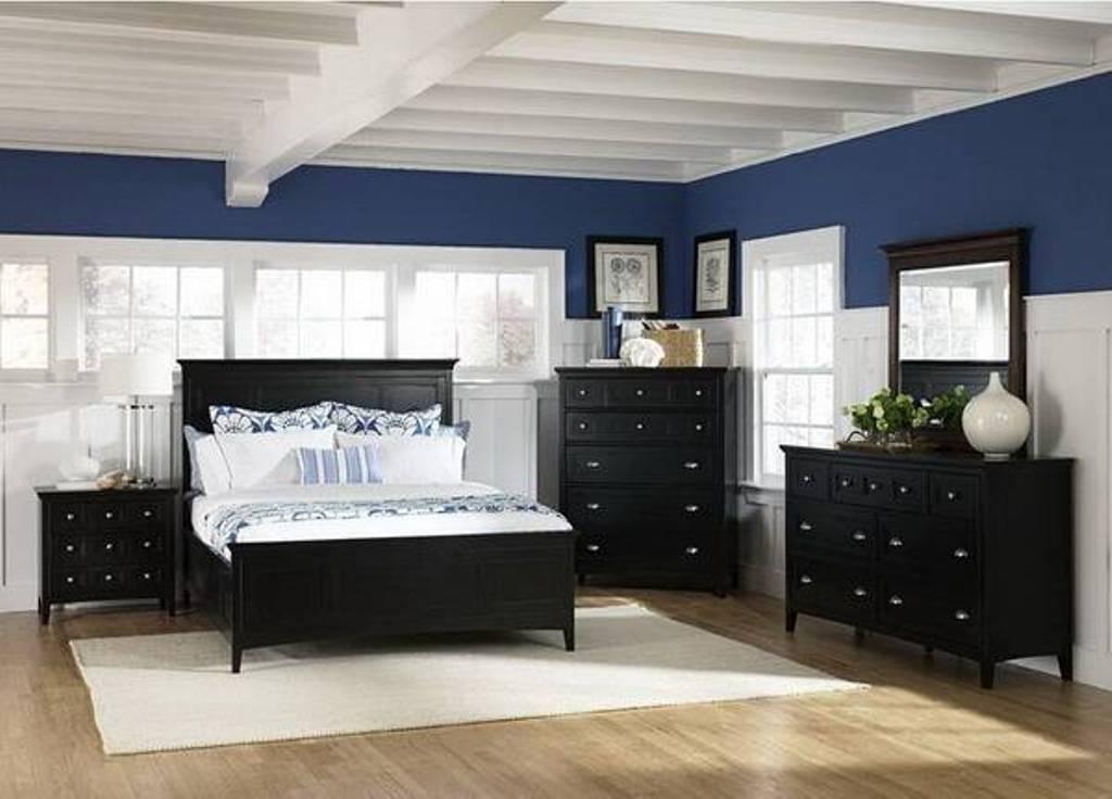 blue bedroom black furniture photo - 1