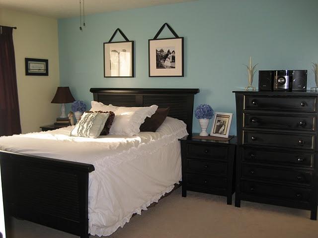 blue bedroom black furniture photo - 10