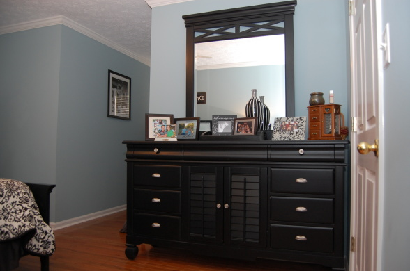 blue bedroom black furniture photo - 2