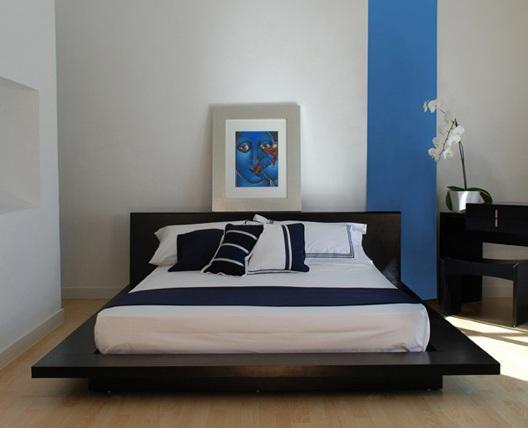 blue bedroom black furniture photo - 3